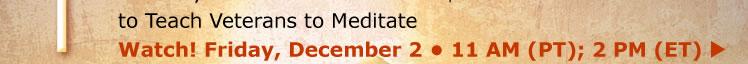 to Teach Veterans to Meditate Watch! Friday, December 2 • 11 AM (PT); 2 PM (ET)